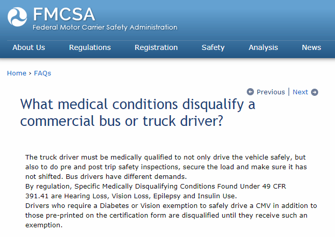 Disqualifying Conditions for Truck Drivers