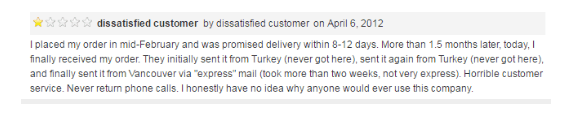 The first review we found was about a very dissatisfied customer who gave it a rating of one star