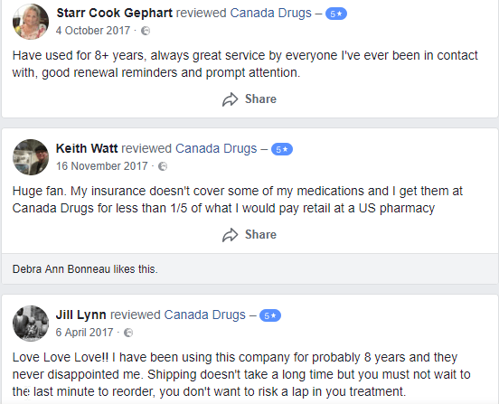 Canada Drugs User Testimonials (source: https://web